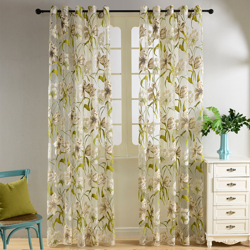 Topfinel Tropical Floral Semi Sheer Gardiner til Stue Soveværelse Køkken Vintage Country Style Gardiner Tulle Ready Made
