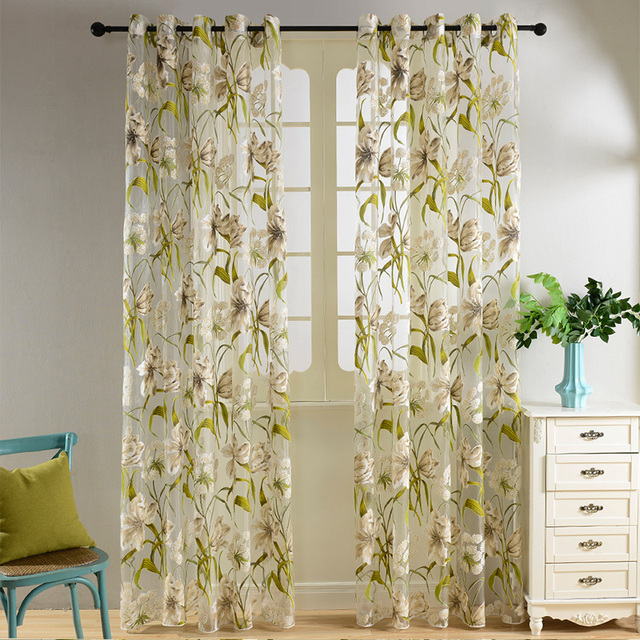 Topfinel tropical floral semi Sheer Cortinas para sala dormitorio ...