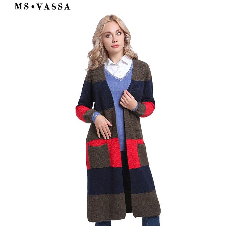 c4486f64008 MS VASSA Для женщин свитера Новинка 2017 г. на осень-зиму кардиганы длинные  полосатые свитер вязаный Открыть стежка дамы большие размеры евро 50