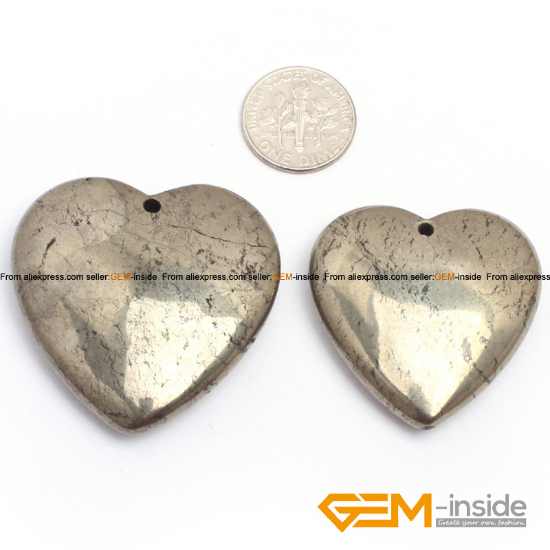35mm 40mm heart love silver gray pyrite beads pendant 1 Piece natural stone beads loose beads for pendant making wholesale !