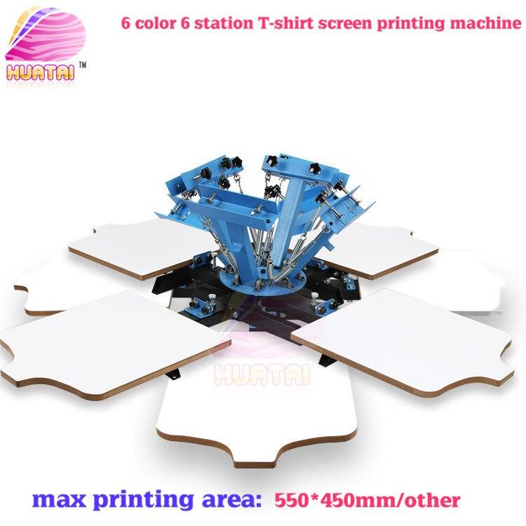 6 couleurs 6 stations sérigraphie machine sans base pour t-shirts bonne qualité livraison gratuite (beaucoup de domaines) avec livraison rapide