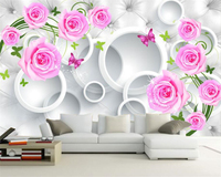 Beibehang 3d High Quality Modern Custom Wall Paper Large Pink Rose Fashion 3D Mural Living Room