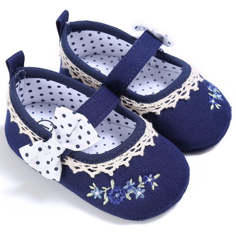 Infant Baby Girl Bow-knot Embroidery Shoes Toddler Shallow First Walker 0-18 Months