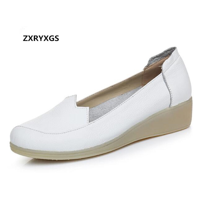 2019 Spring and Autumn New Nurse White Shoes Flat Wedges Genuine Leather Shoes Casual Shoes Shallow Mouth Anti skid Women Flats