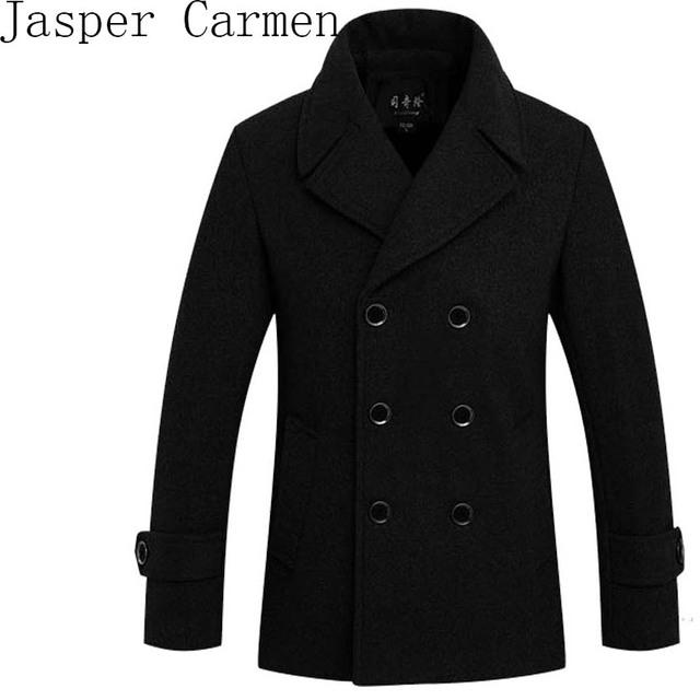 Frete grátis Outono e inverno New arrivals homens casaco de lã Magro trespassado casaco grosso Tamanho M-3XL 140yw