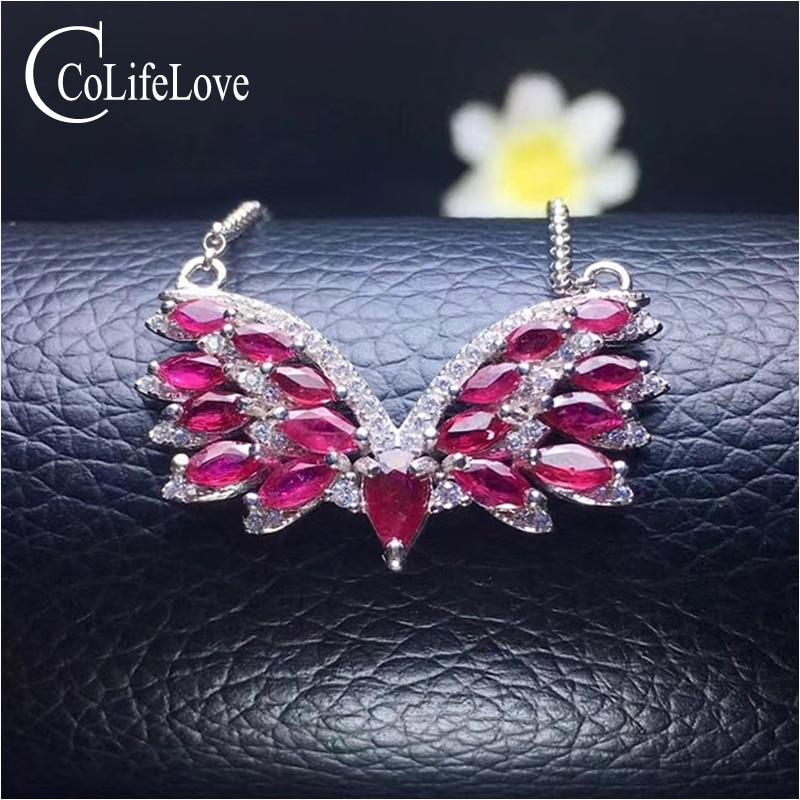 Pendentif aile de mode pour fête 17 pièces pendentif en argent rubis naturel bijoux en argent 925 rubis massif pour mariage