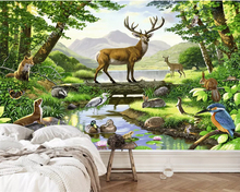 купить beibehang wallpaper for kids room Custom photo wallpaper elk fox forest pine decorative mural papier peint mural 3d Vinyl wall по цене 576.41 рублей