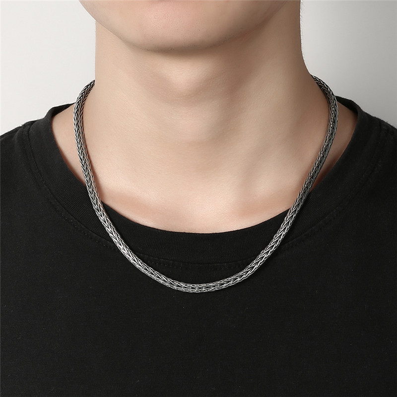 GAGAFEEL 4/5MM Thick Chain 925 Sterling Silver Male Necklaces Men's Heavy Snake Necklaces Men Jewelry Top Quality