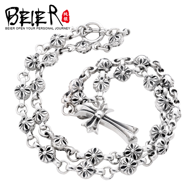 Beier new store 100% 925 silver sterling necklaces pendants classic cross fine jewelry chains necklace for women/men  BR925XL020