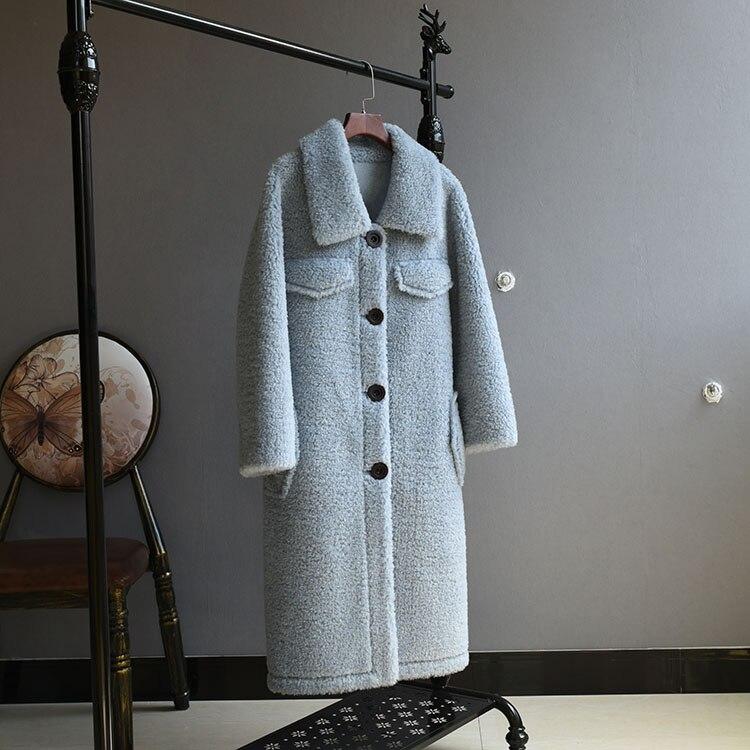 Kadın Giyim'ten Gerçek Kürk'de OFTBUY 2019 Kış Ceket Kadınlar Gerçek Kürk Koyun Shearling Coat Kadın Lambswool Uzun Ceket Yün Parçacıklar Giyim Streetwear'da  Grup 2