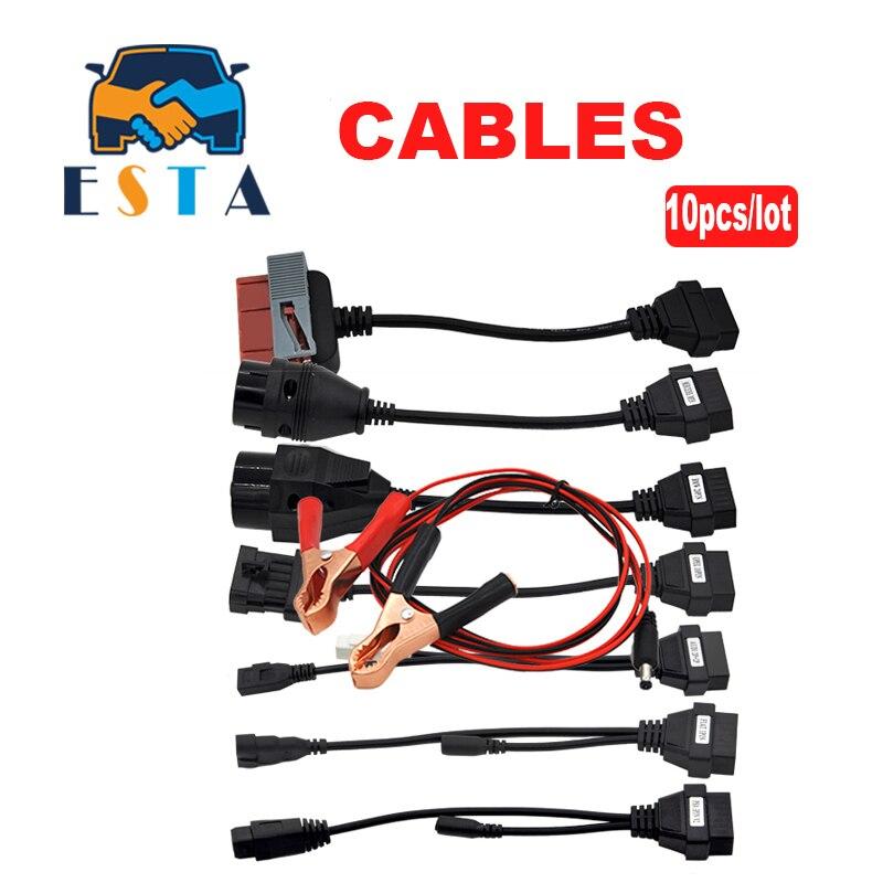 10pcs lot Professional Full Set 8 TCS Pro Car Cables OBD OBDII Diagnostic Connector For