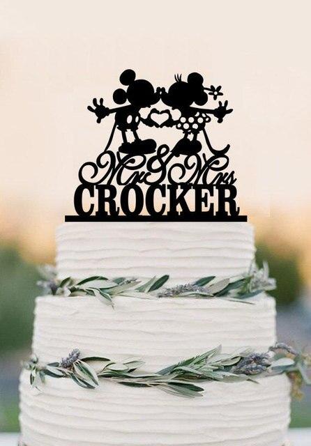 Topper Pastel de Boda de encargo, Mickey Mouse Cake Topper, Sr. y Sra. con del apellido de la torta, de acrílico pastel de bodas topper