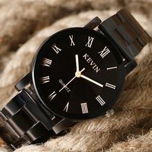 2016 Nueva Marca Kevin de Lujo Banda de Acero Inoxidable Relojes de Los Hombres Relojes de Cuarzo Negro Completo Simples Números Romanos Relojes de Pulsera Mujer