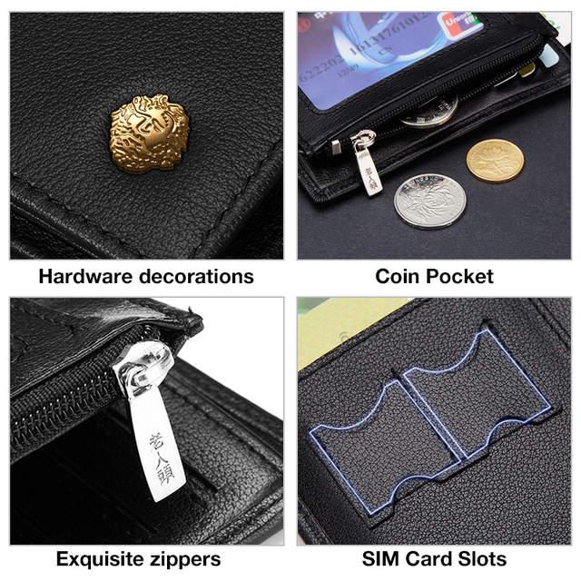 Online Shop <b>LAORENTOU Men Genuine Leather</b> Wallets Casual ...