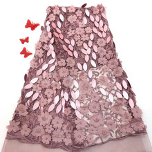 Fashionable design 3d flowers french lace fabric appliques 5 yards per lot african bridal rof-1959