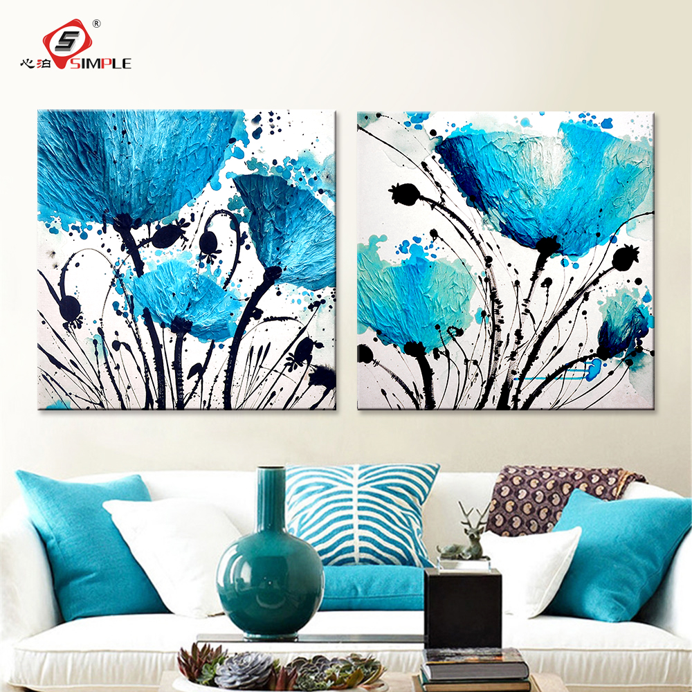 Buy oil painting wall art canvas prints for Blue wall art for living room