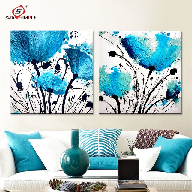 Oil Painting Wall Art Canvas Prints Abstract Blue Flowers Modern Modular Pictures For Living Room