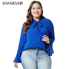 a036f3adc2b3f3 Enyuever Royal Blue Women Blouse Elegant Plus Size Casual Spring Long  Sleeve Work Shirts Office Tops