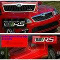 1 PCS 3D chrome Auto Grille crachá Fender Prata VRS RS Emblema traseiro Adesivos de carro para SKODA octavia adesivos de Carro Styling