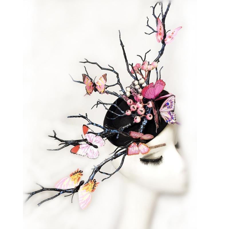 22 23 10 De Reduction Mesdames Fascinator Casque De Mariage Partie Mini Haut Chapeau Fait A La Main Gothique Antler Papillon Coiffure Arbre