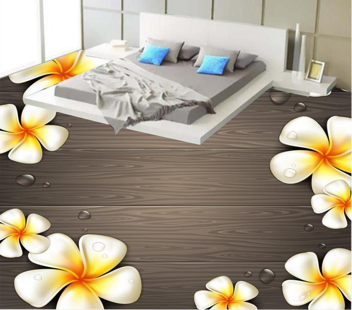цена на Wallpaper Self Adhesive Woody flowers 3d Flooring Custom Non-slip Bathroom Waterproof Floor Tiles