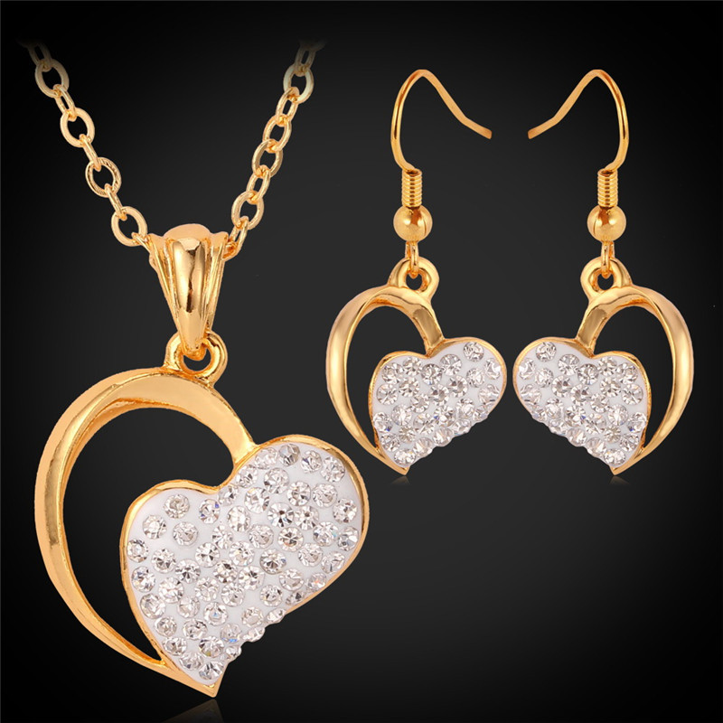 Collare Jewelry Sets For Women Heart With Heart Gold Color Rhinestone Crystal Necklace Earrings For Wedding Bridal S143