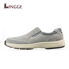 2018 New Brand Fashion Soft Real Leather Breathable Men's Flats Shoes Slip-on Mocassins Men Loafers Gray Men Boats Shoe