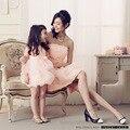 2016 мать и дочь одежда мать и дочь ну вечеринку платье женщины вечер роза платье девушок малыша вечер с бантом платье