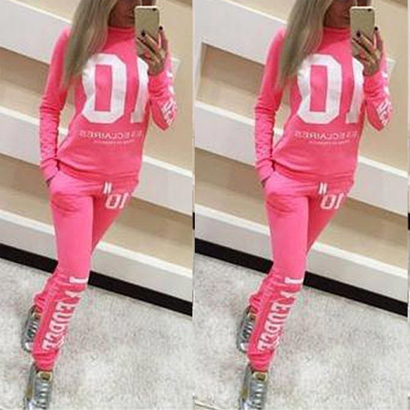 Frauen 2 teile/satz Trainingsanzug Jogger Jogging Brief Drucken Sweatshirt + Hosen Loungewear Anzug QL Verkauf