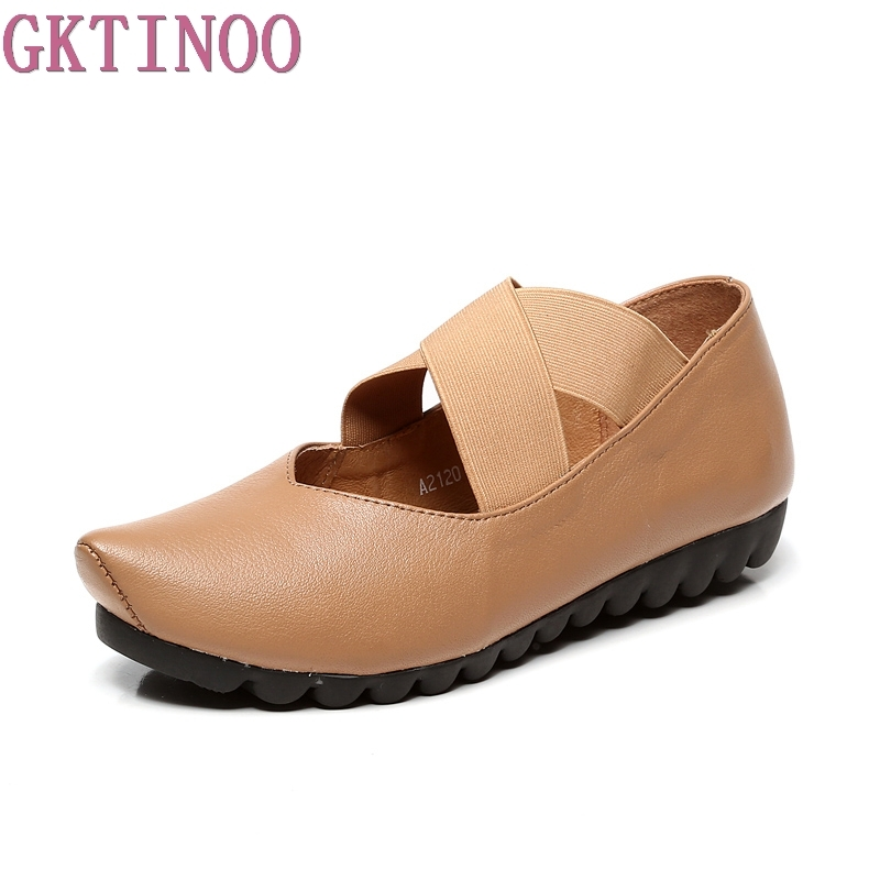 Gktinoo обувь женщина 2018 осень острый носок Лоферы без застежки, из натуральной кожи Женская повседневная обувь балетки на плоской подошве