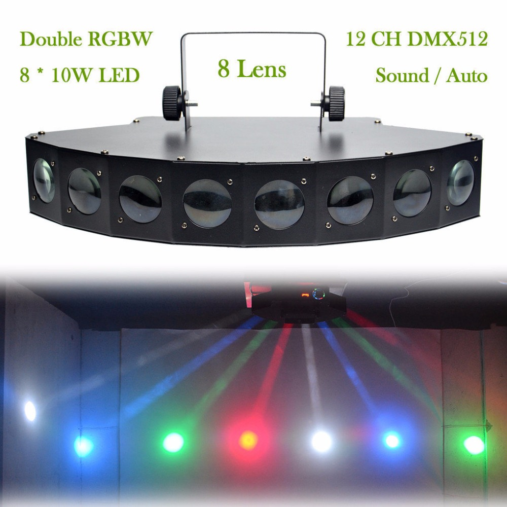 AUCD 8 Heads LED RBGW DMX 512 Light Beam Lamps PRO DJ Show Party Stage Lighting Disco Bar Xmas 8 Lens Projector Spotlights LE-8H