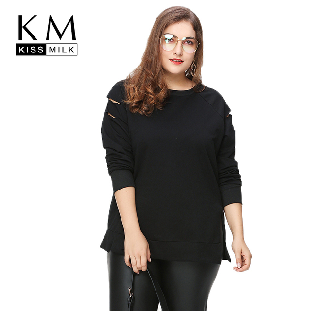 Kissmilk Plus Size Women Casual Black Cut Out Distressed Tops Long Sleeve Ripped Big Size Sweatshirt Hoodie Outfits 3XL 4XL 5X