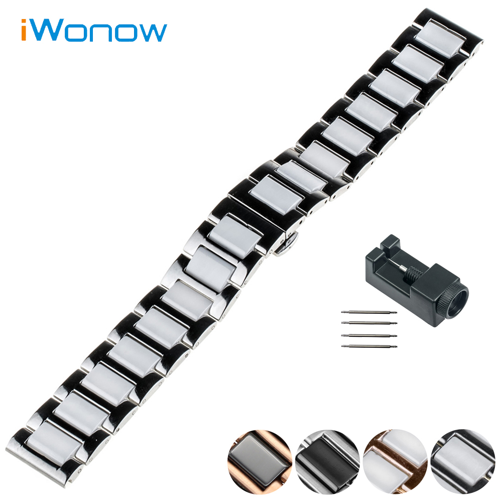 Ceramic Watch Band 20mm 22mm for Diesel Butterfly Buckle Strap Wrist Belt Bracelet Black Silver + Spring Bar + Tool 20mm 22mm ceramic