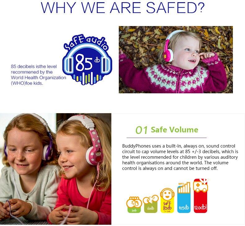 BuddyPhones ONANOFF MOOMIN Headphones Kids Safe Volume Limiting Wired Headsets Cartoon Cute Children Earphones With Microphone