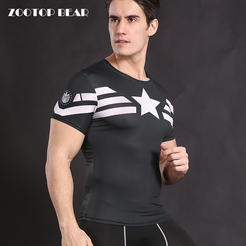 Captain America T shirt Compression Men Shirt Crossfit Tops Cosplay T-shirt Superhero Tees Male Fitness Camisetas ZOOTOP BEAR