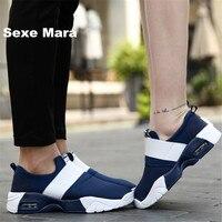 Marca zapatos de Los Hombres lienzo zapatos Planos Ocasionales Unisex tela Neta hombres de amortiguación Del amortiguador de Aire zapatos de mujer chaussure homme tenis femenino