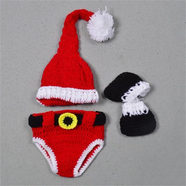 Crochet sombrero de Papá Noel pañal bebé recién nacido Navidad traje ...