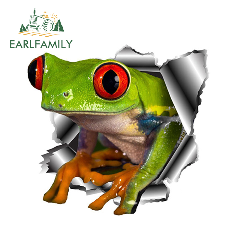 EARLFAMILY 13cm X 12.3cm 3D Frog Car Stickers Torn Metal Car Hood Decal Reflective Sticker Funny Animal Car Styling Accessories