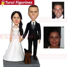 custom sculpture copy from photo head statue statuette pictures dog wedding cake topper with figurines