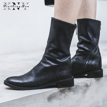 XiuNingYan Brand Genuine Leather Shoes Women Boots Zipper Genuine Leather Mid-calf Boots Square Heels Large Big Size 33-43