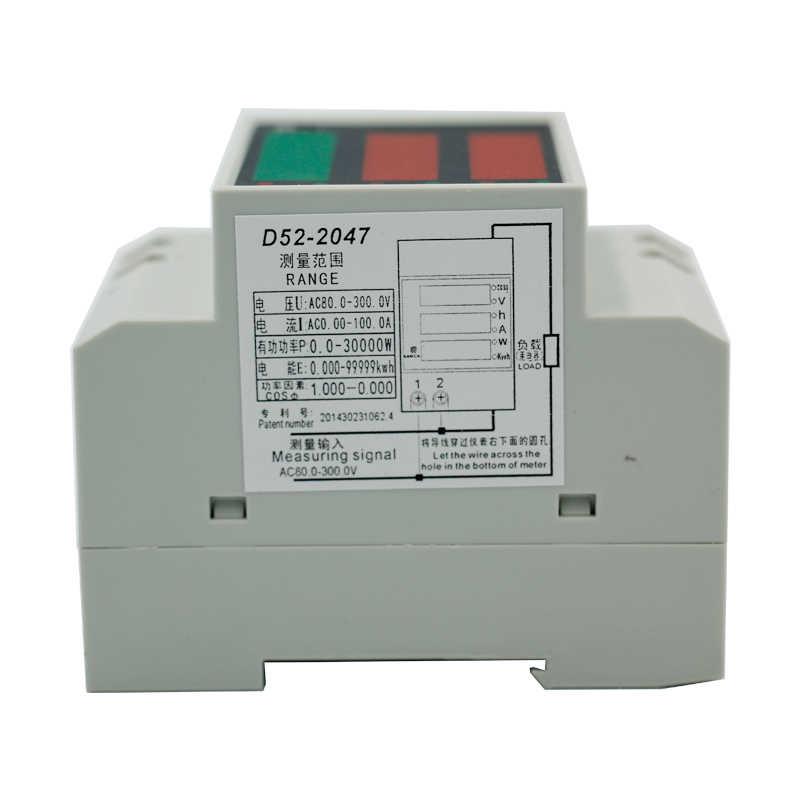 5 шт./лот D52-2047 рельс Тип цифровой энергии измеритель напряжения мощности вольтметр переменного тока 0-100A AC80-300V амперметр
