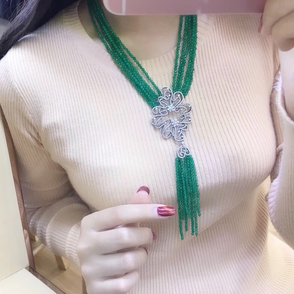 Зеленый камень кисти ожерелье нескольких слоев 925 серебро с фианит Женская мода ювелирные изделия 18 дюймов