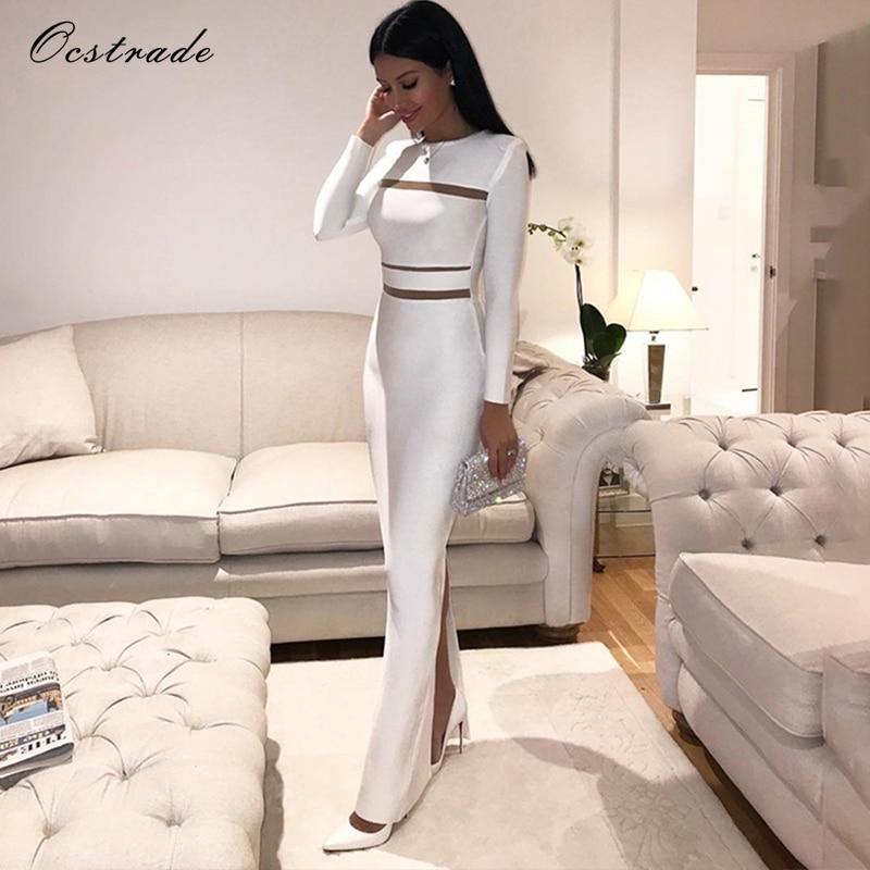 Ocstrade White Round Neck Long Sleeve Maxi Mesh Back Slit Evening Bandage Dress HB5294 White
