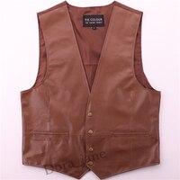 2017 Genuine Leather Vest Mens Bikers Vest Brown Riding Motorcycle England Business V Neck Waistcoat For