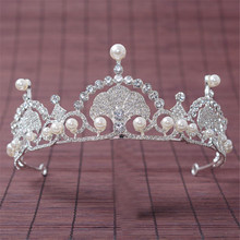 2017 New Korean Princess Bride Wedding Wedding Tiara Crown Pearl  Crystal Silver Crown Hair Wedding Accessories Hair Jewelry QH-