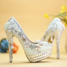 Platform Heels Ladies Footwear White Designer Pumps High Heel Womens Luxury Wedding Shoes For Bride Diamond Crystal 6cm 8cm 12cm