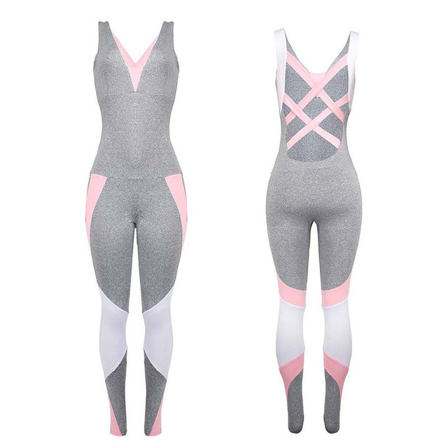 Patchwork Pink Backless Yoga Sport Suit for Women