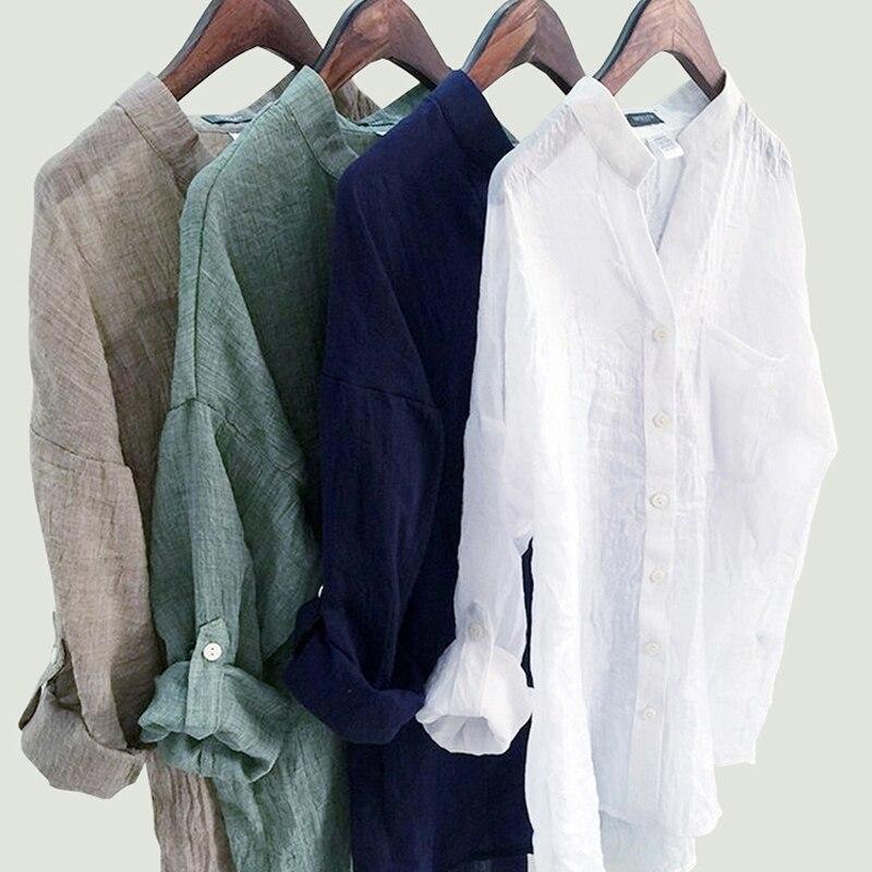 DERUILADY Beiläufige Lose Frauen Tops Und Blusen Harajuku Plus Größe Bluse Shirt Mode Baumwolle Leinen V Neck Frauen Shirts Blusas