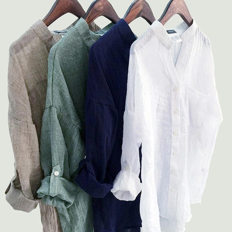 DERUILADY sueltos, Casual para Mujer Tops y Blusas Harajuku Plus tamaño blusa Camisa de algodón de moda de cuello en V de camisas de mujer Blusas