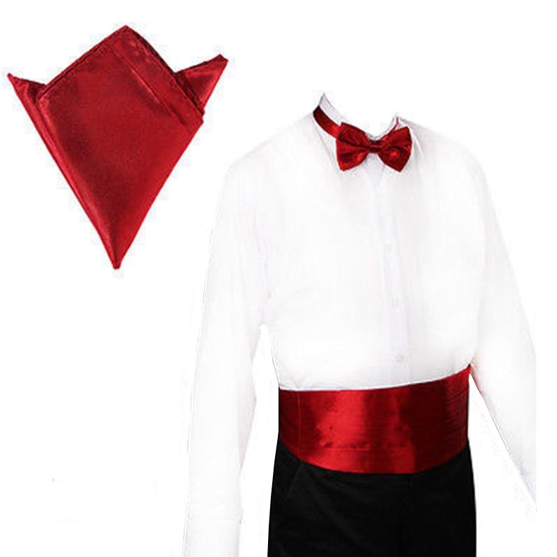 Mens Cummerbund Sets Pocket Square Hanky Bow Tie Tuxedo Wedding Mens CummeFormal Noeud Papillon Sash Wide Belts Ceremonial Belt